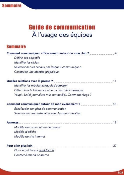Sommaire du Guide de Communication à l'usage des équipes - Septembre 2016